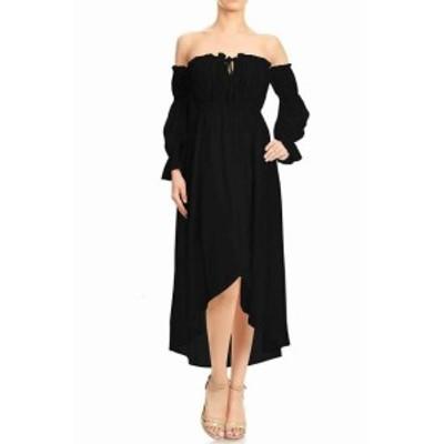 ファッション ドレス Anna-Kaci Womens Black Size Medium M High Low Off Shoulder Sheath Dress
