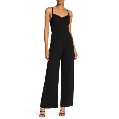ロウエー レディース ワンピース トップス Lace Back Wide Leg Jumpsuit BLACK