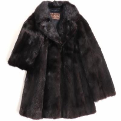 極美品▼MOONBAT MINK ムーンバット ミンク 裏地ロゴ柄 本毛皮コート ダークブラウン 毛質艶やか・柔らか◎