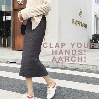大きいサイズ おおきいサイズ レディース ファッション ミモレ丈 ニット スカート シンプル 細見え LL 3L 4L 秋冬 体型カバー