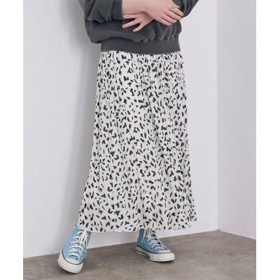 【ロペ】 アニマルプリントプリーツスカート レディース ホワイト 38 ROPE'
