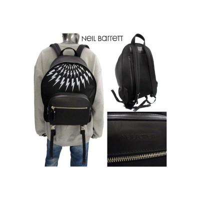 ニールバレット Neil Barrett メンズ 鞄 バックパック リュック ロゴ ユニセックス可 サンダーボルトプリント・ロゴ付きポケット付きバックパック 黒 (R105800)