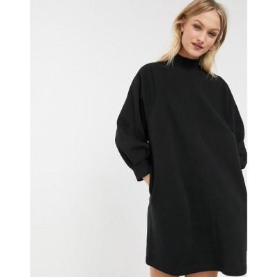 モンキー Monki レディース ワンピース ミニ丈 ワンピース・ドレス mock neck balloon sleeves mini sweat dress in black ブラック