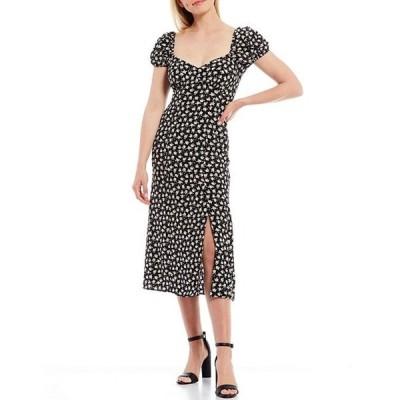 フレンチコネクション レディース ワンピース トップス Aura Floral Print Sweetheart Neck Short Puff Sleeve Slit Front Midi Dress