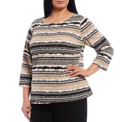 ルビーロード レディース Tシャツ トップス Plus Size Striped Embellished Boat Neck 3/4 Sleeve Knit Top Bamboo Multi