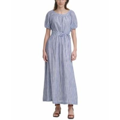 カルバンクライン レディース ワンピース トップス Cotton Puff-Sleeve Maxi Dress Denim Blue