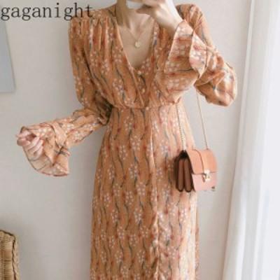 レディースファッション Gaganight甘い花の女性マキシボディコンドレスフリル長袖Vネックシフォン女性ホリデードレススリムファ