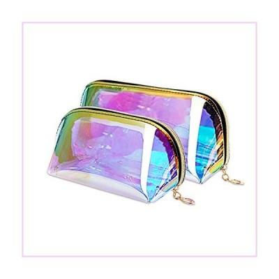 JINGMAX 2pcs Makeup Bags, lridescent Travel Cosmetic, Waterproof Portael Handbag with Gold Zipper for Women Girls■並行輸入品■