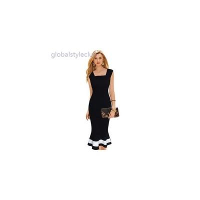 ワンピース 夏物 ミディ丈 ノースリーブ フォルム くびれ フォーマル 大きいサイズ レディース 女性 ブラック 黒