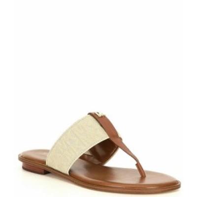マイケルコース レディース サンダル シューズ MICHAEL Michael Kors Verity MK Logo Printed Elastic Thong Sandals Hemp