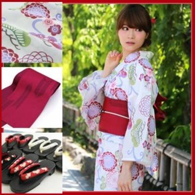 浴衣 セット 女性 高級変わり織り浴衣3点セット「白地に赤系丸菊と松流水」