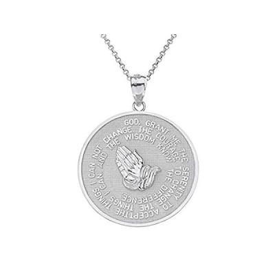 925スターリングシルバー 聖書の言葉 セレニティと主の祈りのメダルペンダントネックレス