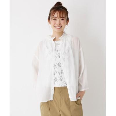 le colis(ルコリ) 【洗える】フリルネック楊柳シアーシャツ