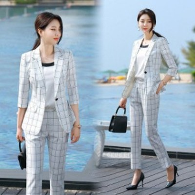 チェック柄 スーツ レディース 通勤 OL パンツスーツ フォーマル ビジネススーツ ホワイト ブラック 2点セット 7分袖 テーラードジャケッ