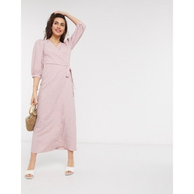 ヴィラ レディース ワンピース トップス Vila maxi wrap dress in pink check