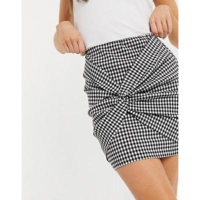 エイソス レディース スカート ボトムス ASOS DESIGN bengaline mini skirt with twist detail in gingham check print
