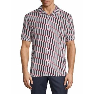 イレブンパリ メンズ カジュアル ボタンダウンシャツ Printed Short Sleeve Shirt
