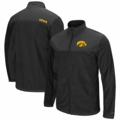 Colosseum コロセウム スポーツ用品  Colosseum Iowa Hawkeyes Black Blocker Polar Fleece Full-Zip Pullover Jacket