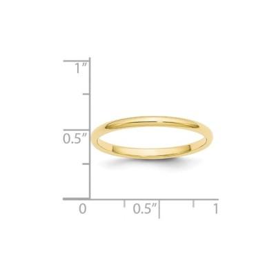 10K Yellow Gold 2 MM Half Round Wedding Band Size 6