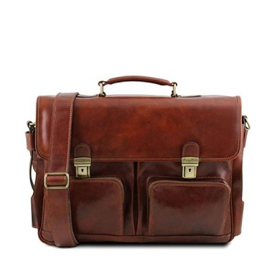 Tuscany Leather Ventimiglia - Leather Multi Compartment TL Smart Briefcase with Front Pockets - TL141449 (Brown) 並行輸入品