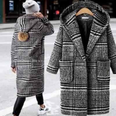 グレンチェック ロングコート フード付き コート 大きいサイズ 3L 4L 5L 6L キルティング チェック柄ロングコート 冬 コート レディース