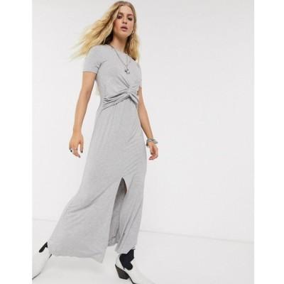 エイソス ASOS DESIGN レディース ワンピース マキシ丈 ワンピース・ドレス Asos Design Twist Front Maxi Dress In Grey Marl グレー