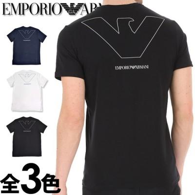 エンポリオアルマーニ メンズ Vネック ルーズフィット ロゴ バックプリント 半袖 Tシャツ ネイビー ホワイト ブラック EMPORIO ARMANI 1110280p578
