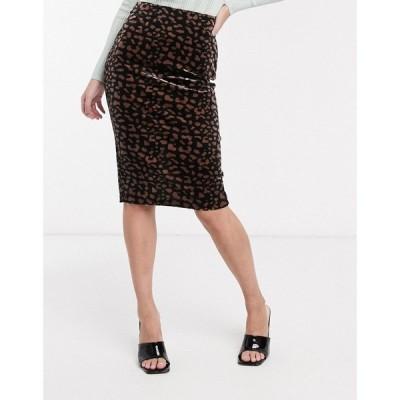 イチ Ichi レディース ひざ丈スカート スカート leopard print midi skirt ブラック