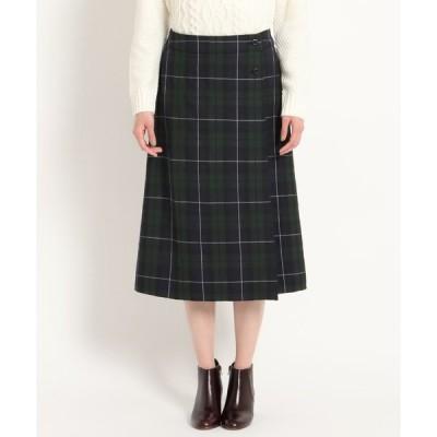 Dessin(Ladies)(デッサン(レディース))【CLASSY.12月号掲載・洗える】チェック裏起毛ラップスカート