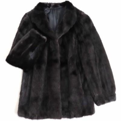 毛並み極美品▼MINK ミンク 本毛皮コート ブラック 毛質艶やか・柔らか◎