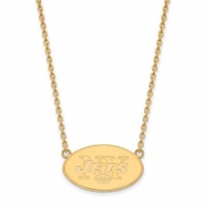 LogoArt ロゴアート アクセサリー ジュエリー New York Jets Gold-Plated Large Logo Split Chain Necklace
