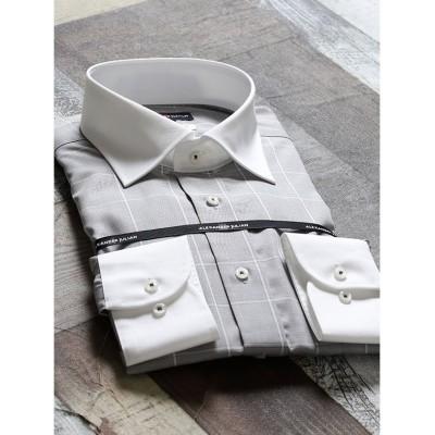 【タカキュー】 綿100%形態安定レギュラーフィット ワイドカラークレリック長袖ビジネスドレスシャツワイシャツ メンズ グレー L:41-86 TAKA-Q