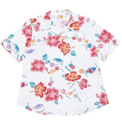 かりゆしウェア(沖縄アロハシャツ)レディース MANGO PLUS ちゅら島紅型 オープンシャツ ホワイト