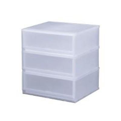 収納ケース プラスト 半透明タイプ 3段 幅51×高さ57cm FR5103(  収納ボックス 収納チェスト 引き出し プラスチック おもちゃ箱 小物入れ 積み重ね 収納BOX 衣裳ケース スタッキング 衣類収納  クローゼット )