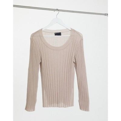 エイソス レディース ニット&セーター アウター ASOS DESIGN lounge fine knit rib sweater with splits in cream Cream