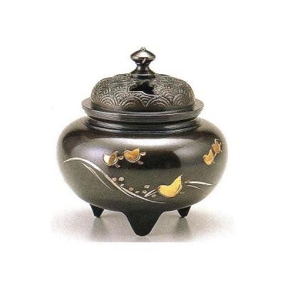香炉 鉄鉢型四海波蓋 銅製 古手色 桐箱入 高さ11.5×幅10.6cm t135-52