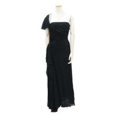 (美品)ヴァレンティノ ドレープ スリット入り ロングドレス 10 ブラック 黒 レディース