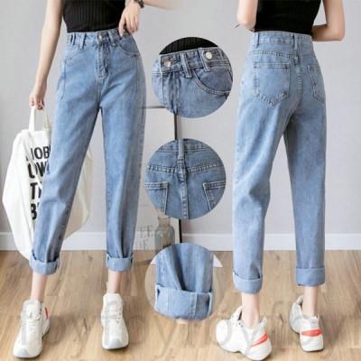 デニム パンツ ズボン ダメージジーンズ レディース ジーパン 九分丈 大きいサイズ ロングパンツ ハイウェスト 韓国風 ゆったり