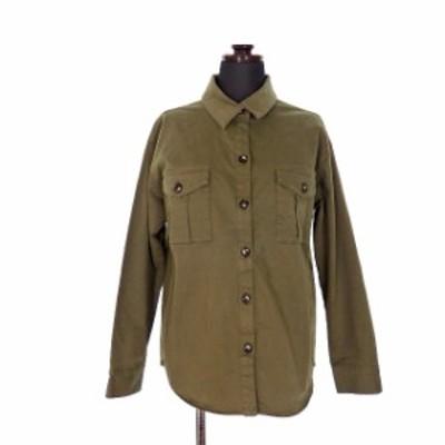 【中古】マイカ&ディール MICA&DEAL 16AW ワッシャーツイル シャツ ブラウス コットン 長袖 36 カーキ 緑 M16C133