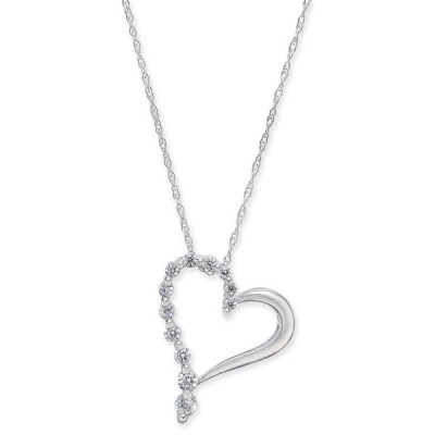 """メイシーズ Macy's メンズ ネックレス ジュエリー・アクセサリー Diamond Open Heart 18"""" Pendant Necklace (1/4 ct. t.w.) in 14k White Gold White Gold"""