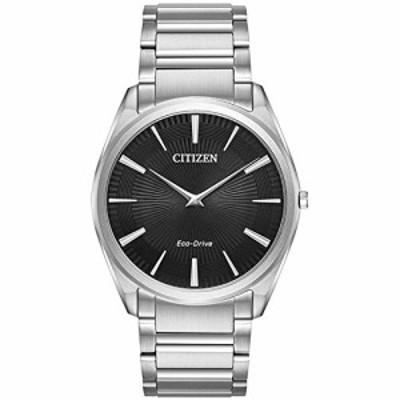 腕時計 シチズン 逆輸入 Citizen Stiletto Eco-Drive Black Dial Men's Watch, Silver-tone, Size No Size