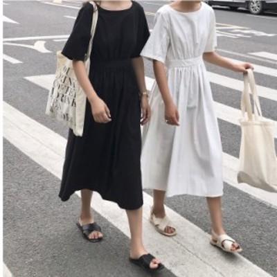 ゆったりワンピースロング 韓国 韓国 ファッション レディース ワンピース ロング 背中あき 背中見せ ハイウエスト セクシー 無地 ゆった