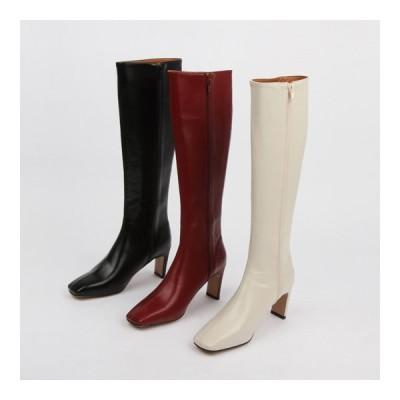 ロングブーツ ミドルブーツ サイドジップ スクエアトゥ ハイヒール プレートヒール レディース 黒 赤 白 ブラック ワイン アイボリー 靴 婦人靴 歩きやすい