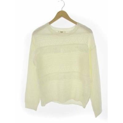 【中古】オゾック OZOC 模様編み フリンジ ニット セーター プルオーバー アクリル ホワイト 白 38 レディース