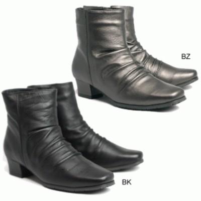 Fino 14201 フィーノ レディース ブーツ ショート丈 天然皮革 羊革 幅広 3E 防滑ソール 内ボア仕様 インサイドファスナー ワンヒール く