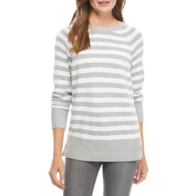 キム ロジャース レディース ニット・セーター アウター Women's Long Sleeve Side Button Striped Sweater