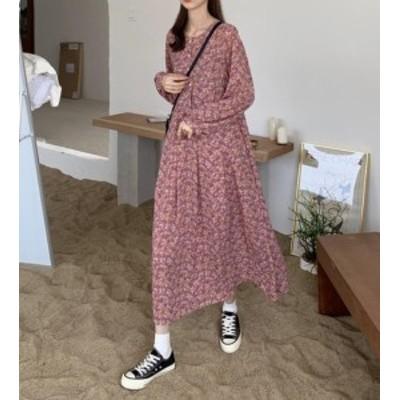 韓国 ファッション レディース ワンピース ロング ワンピ 花柄 フレア ゆったり レイヤード 長袖 大人可愛い レトロ フェミニン