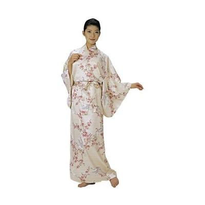 お土産 きもの 外国人向け着物 梅に鶴 女性用 ポリエステルサテンきもの A774
