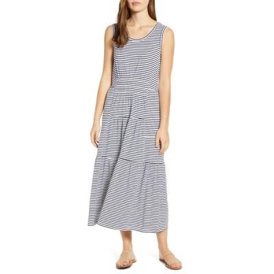 ビーチランチラウンジ) ワンピース トップス レディース Kamala Stripe Tiered Jersey Midi Dress Straight A