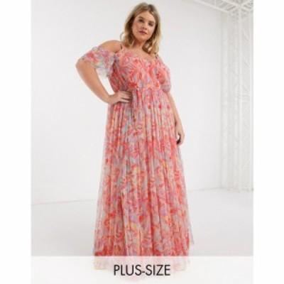 アナヤ プラス Anaya Plus レディース ワンピース Anaya With Love Plus cold shoulder all over floral printed pleat maxi dress in mu